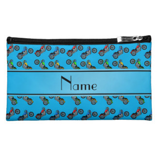 Personalized name sky blue motorcycles makeup bag