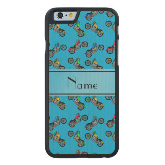 Personalized name sky blue motorcycles carved® maple iPhone 6 slim case
