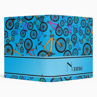 Personalized name sky blue mountain bikes 3 ring binder
