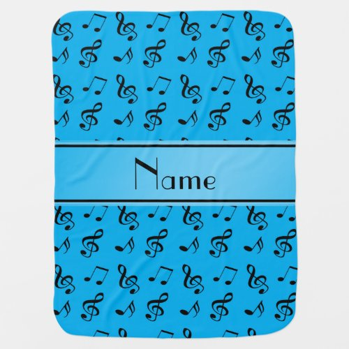 Personalized name sky blue music notes baby blanket