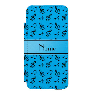 Personalized name sky blue music notes incipio watson™ iPhone 5 wallet case