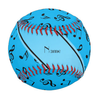 Personalized name sky blue music notes baseballs