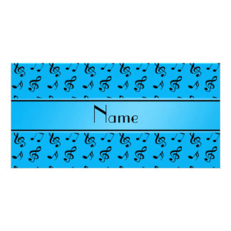 Personalized name sky blue music notes personalized photo card