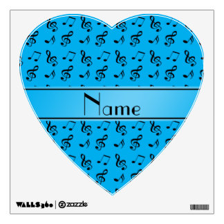 Personalized name sky blue music notes room graphic
