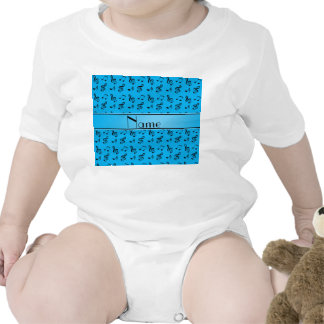 Personalized name sky blue music notes baby creeper