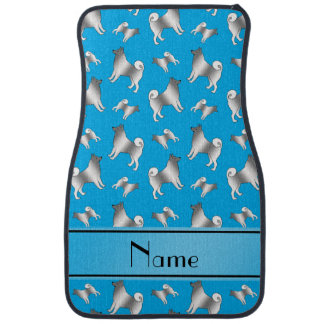 Personalized name sky blue Norwegian Elkhound dogs Car Mat