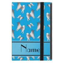 Personalized name sky blue Norwegian Elkhound dogs iPad Mini Case
