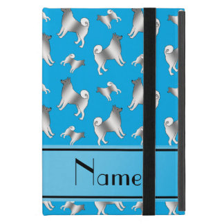 Personalized name sky blue Norwegian Elkhound dogs iPad Mini Case