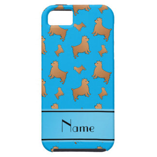 Personalized name sky blue Norwich Terrier dogs iPhone 5 Case