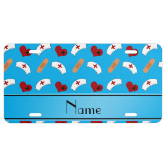 Personalized name sky blue nurse pattern license plate