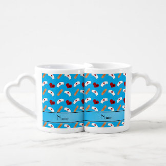 Personalized name sky blue nurse pattern couples' coffee mug set