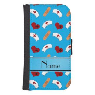 Personalized name sky blue nurse pattern galaxy s4 wallet case