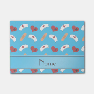 Personalized name sky blue nurse pattern post-it® notes