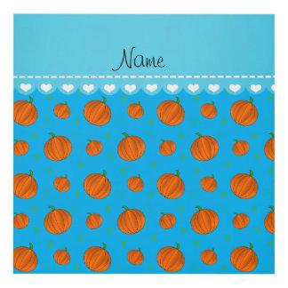 Personalized name sky blue orange pumpkins wood wall art