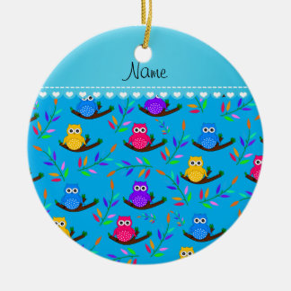 Personalized name sky blue owl branches leaves ceramic ornament