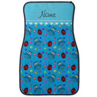 Personalized name sky blue owls flowers ladybugs car floor mat