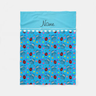 Personalized name sky blue owls flowers ladybugs fleece blanket
