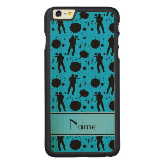 Personalized name sky blue paintball pattern carved® maple iPhone 6 plus slim case