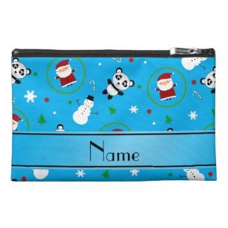 Personalized name sky blue panda santas christmas travel accessory bags