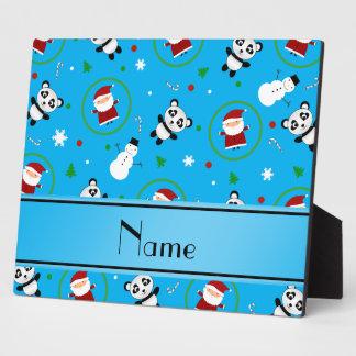 Personalized name sky blue panda santas christmas display plaque