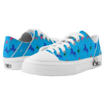 Personalized name sky blue patterned horses Low-Top sneakers
