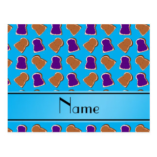 Personalized name sky blue peanut butter jelly postcard