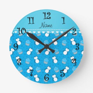 Personalized name sky blue penguins cupcakes stars round clock