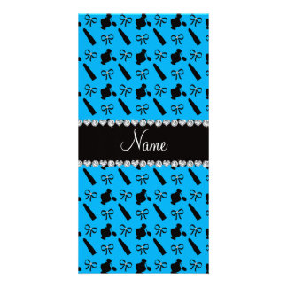 Personalized name sky blue perfume lipstick bows photo card