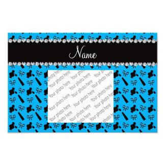 Personalized name sky blue perfume lipstick bows photo print