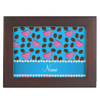 Personalized name sky blue pink coffee cups beans keepsake boxes