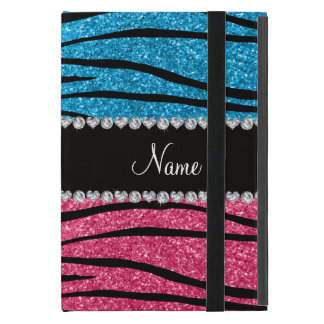 Personalized name sky blue pink glitter zebra covers for iPad mini