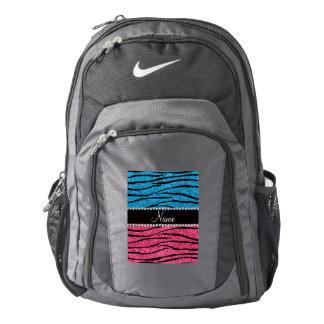 Personalized name sky blue pink glitter zebra backpack