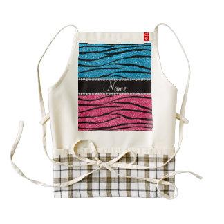Personalized name sky blue pink glitter zebra zazzle HEART apron