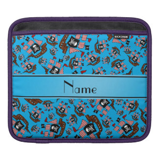 Personalized name sky blue pirate ships sleeve for iPads