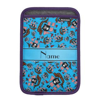 Personalized name sky blue pirate ships iPad mini sleeve