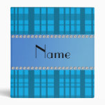 Personalized name sky blue plaid 3 ring binder