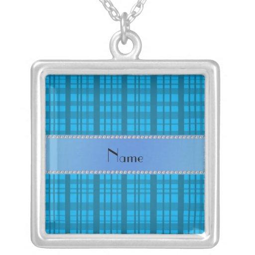 Personalized name sky blue plaid square pendant necklace