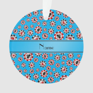 Personalized name sky blue poker chips