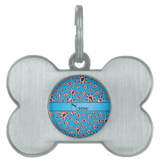 Personalized name sky blue poker chips pet name tag