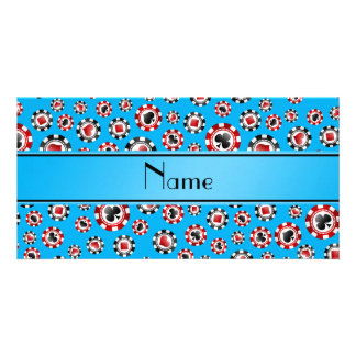 Personalized name sky blue poker chips picture card