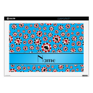 Personalized name sky blue poker chips skin for laptop