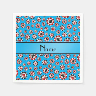 Personalized name sky blue poker chips paper napkins