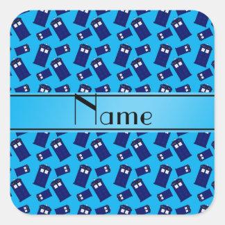 Personalized name sky blue police box sticker