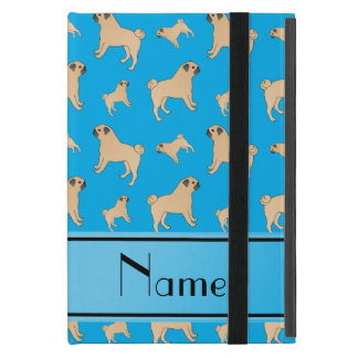 Personalized name sky blue Pug dogs Cover For iPad Mini