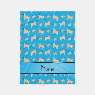 Personalized name sky blue Pug dogs Fleece Blanket
