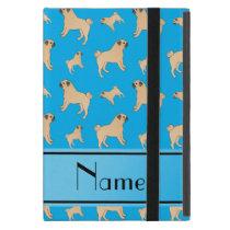 Personalized name sky blue Pug dogs iPad Mini Case