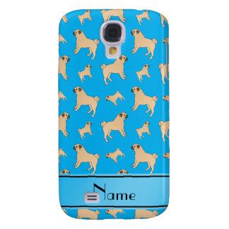 Personalized name sky blue Pug dogs Samsung Galaxy S4 Cases