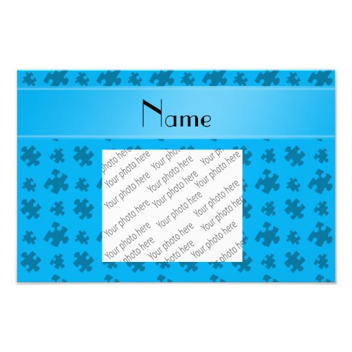 Personalized name sky blue puzzle photo