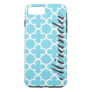 Personalized Name Sky Blue Quatrefoil Pattern iPhone 7 Plus Case