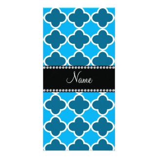 Personalized name sky blue quatrefoil pattern photo card